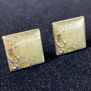 SWANK Watermelon Crystal Cuff Links Vintage